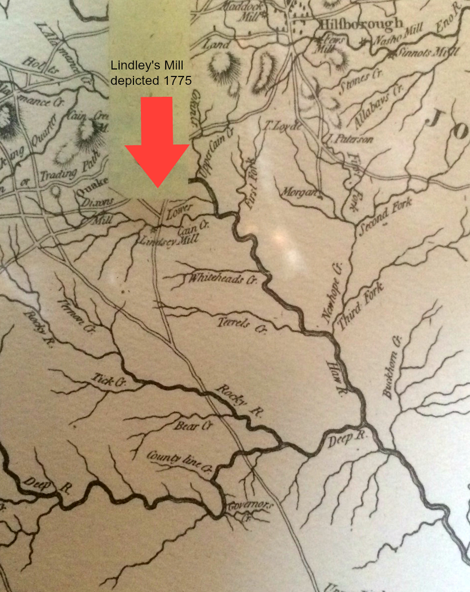 1775 Lindleys Mill Map Alamance County NC