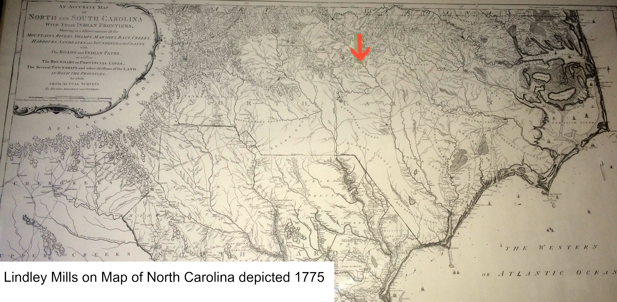 North Carolina early 1775 Map
